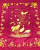 A Chinese silk bedspread finely worked with