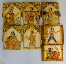 A set of seven late 19th Century Indian Folk paintings