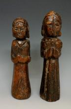 Two rare late 17th Century carved wood dolls