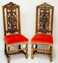 A pair of late 17th Century walnut side chairs