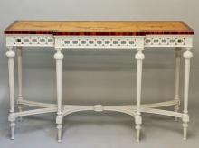 A George III style satinwood veneered breakfront side table