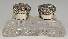 A silver and glass double inkwell, the base and corners diamond cut, the hi