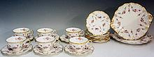 A Royal Crown Derby Royal Antoinette pattern tea service for six comprising