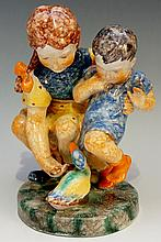 Goldschieder - a polychrome decorated figure group of a young girl and boy