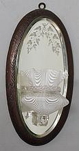 A 19th Century glass girandole wall mirror engraved with ivy leaves, staine