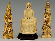 Two Chinese carved ivory figures, one bearded figure with child on his shou