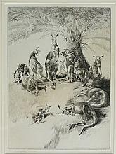 F R Brightwell - An Australian Eleven, engraving, signed lower right and in