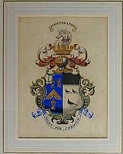 An armorial crest above a banner inscribed Virtuti Paret Robor, watercolour