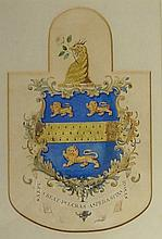 An armorial crest above a banner inscribed Deo Favenet Cresco, and also wit