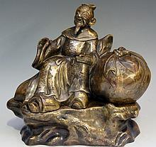 A good Chinese bronze figure of Budai