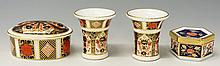 A pair of Royal Crown Derby pattern 1128 spill vases with beaded rims, 6.5c