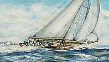 R W Thurston - J-Class off The Needles, oil on artist board, signed lower r