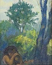 English School, late 20th Century - seated young girl amidst wooded landsca