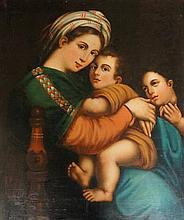After Raphael - Madonna De La Seggiola, oil on canvas laid on board, 75cm x