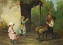 George Mansfield - A Merry Tune, oil on canvas, signed lower right, 29cm x