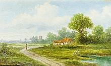 English School, early 20th Century - a pair, rural scenes with figures on p