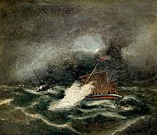 English School, 19th Century - a pair, Ships in Peril, one with lifeboat, s