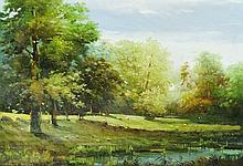 Owen Bowen (1873 - 1967)  - oil sketch, an extensive summer wooded landscap
