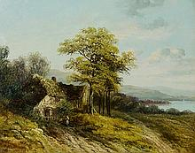 B.W.Leader RA - Welsh landscape with figure and cottage to foreground, an e
