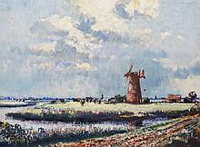 Geoffrey Chatten - On The Island Marsh North From St Olaves, oil on artist