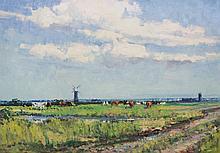 Geoffrey Chatten - On The Island Marsh To Raven Hall, oil on artist board,