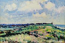 Geoffrey Chatten - summer coastal landscape with figures, oil on artist boa