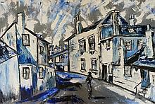 English School, late 20th Century - street scene with figure, acrylic on ca