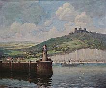 C.W.Kidger - Dover Harbour, oil on canvas, signed lower left, 50cm x 60cm,