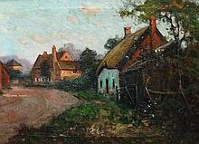 F.S.Merriman - thatched and other cottages on a road, an evening scene, oil