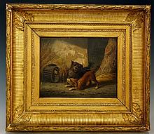Continental School, 19th Century - Dogs Ratting, oil on mahogany panel, ind