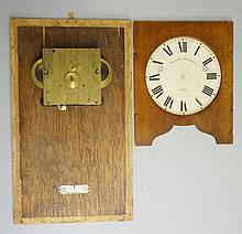 A Stockall recorder time clock, incomplete with spring driven movement, the