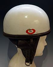 Bayard - a Bayard Super 222k crash helmet with leather ear pieces and strap