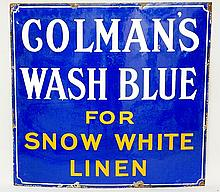 Advertising - an enamel sign: Colman's Wash Blue For Snow White Linen, whit