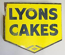 Advertising - a double sided enamel sign: Lyon's Cakes, 40cm x 44cm