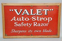 Advertising - an enamel sign: ''Valet'' Auto Strop Safety Razor Sharpens It