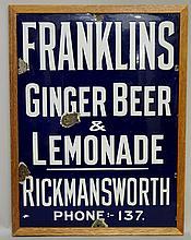Advertising - an enamel sign: Franklin's Ginger Beer and Lemonade, Rickmans
