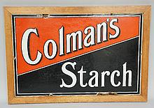Advertising - an enamel sign: Colman's Starch, 39cm x 59cm, framed