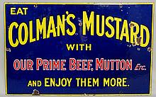 Advertising - An enamel sign: Eat Colman's Mustard With Our Prime Beef, Mut