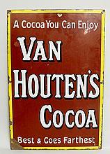 Advertising - An enamel sign: Van Houton's Cocoa - A Cocoa You Can Enjoy Be