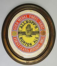 Advertising - a pair of S. Allsopp & Sons brass embossed oval frames, one b