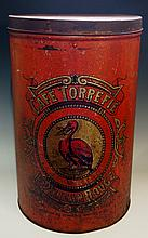 Advertising - a large French red Japanned coffee tin printed in black and g