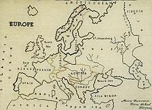 A needlework map of Europe by Mary Lawrence, Torre School, Torquay, 1859, w
