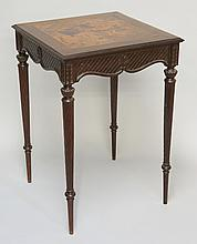 A French hardwood occasional table, the square top inlaid to the centre wit