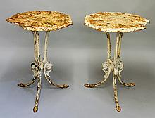 A pair of 19th Century cast iron garden tables of nine-sided form, the tops