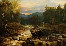 Augustus. R. Grant - a  river with cranes fishing amidst the rocky banks, a