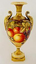 A Royal Worcester urnular two handled vase the body still life painted with