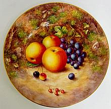 A Royal Worcester circular plate still life painted with apples, grapes, ch