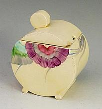 Clarice Cliff  - a Bizarre pattern preserve jar and cover of circular desig