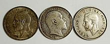 Coins, Great Britain, Silver Crowns, Edward VII, 1902 F-VF; George V 1935;