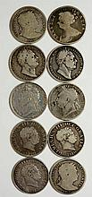 Coins, Great Britain, Silver Halfcrowns, Anne 1709; George III 1817 (3), 19